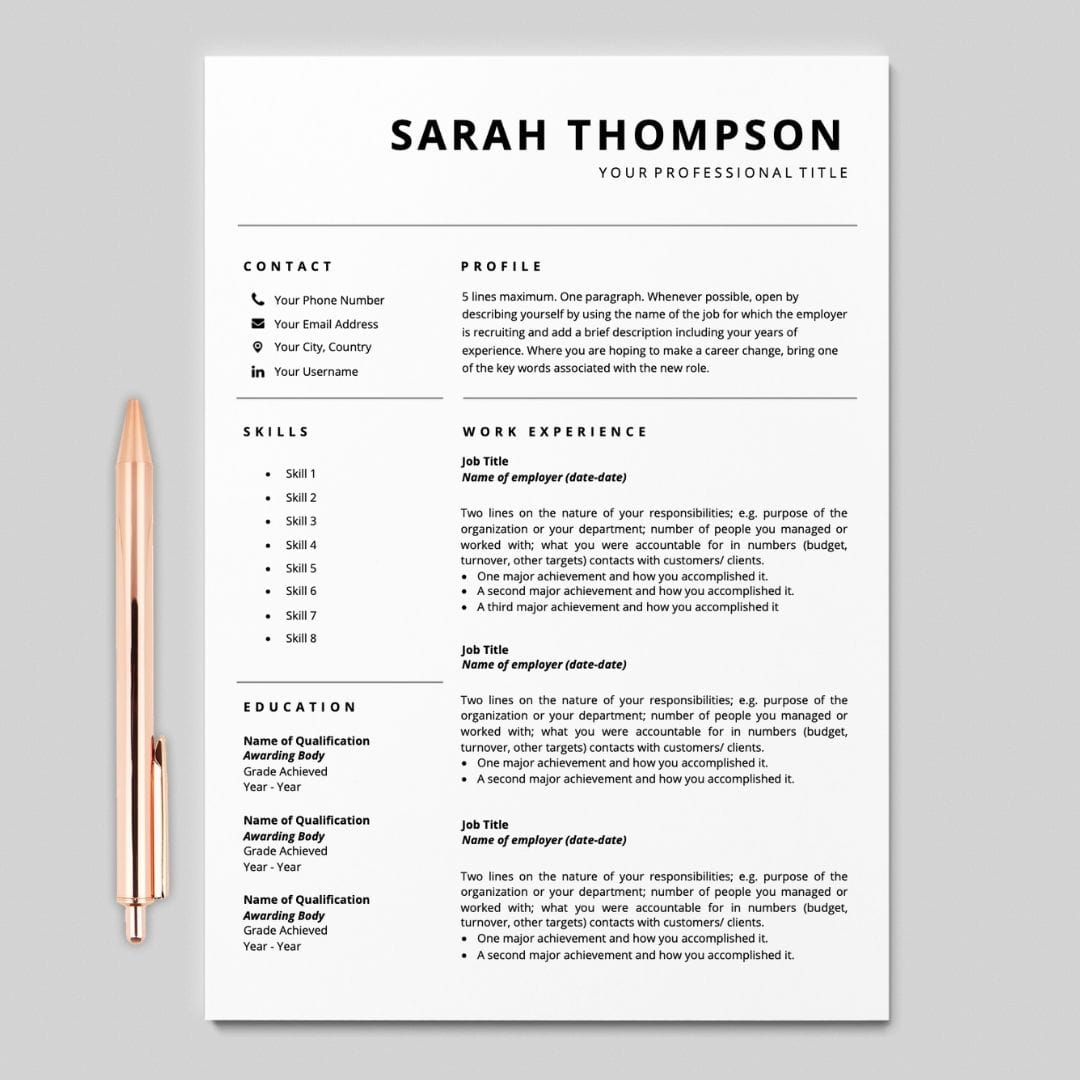 Resume Template For Google Docs I Simple Template I Career Soko