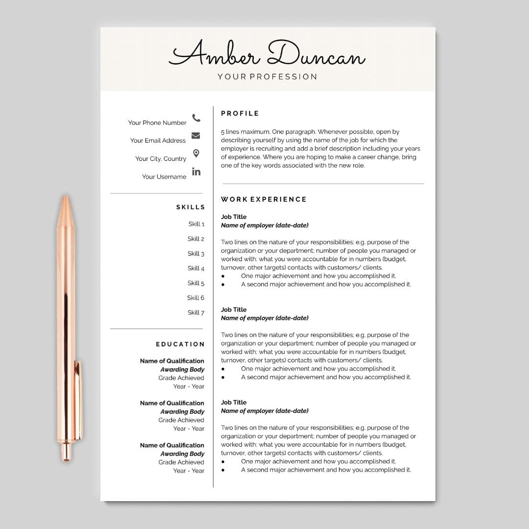Resume Template For Google Docs I Cover Letter Included I Career Soko