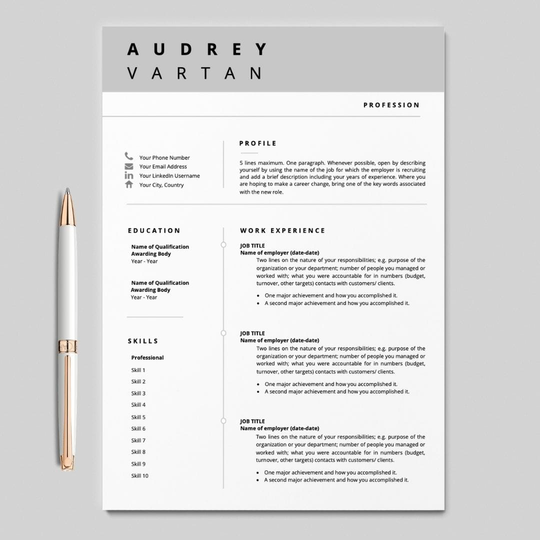 Resume Template With Cover Letter I Resume Design I Career Soko